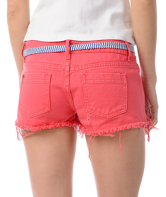 Element Taylor Coral Denim Cut Off Shorts