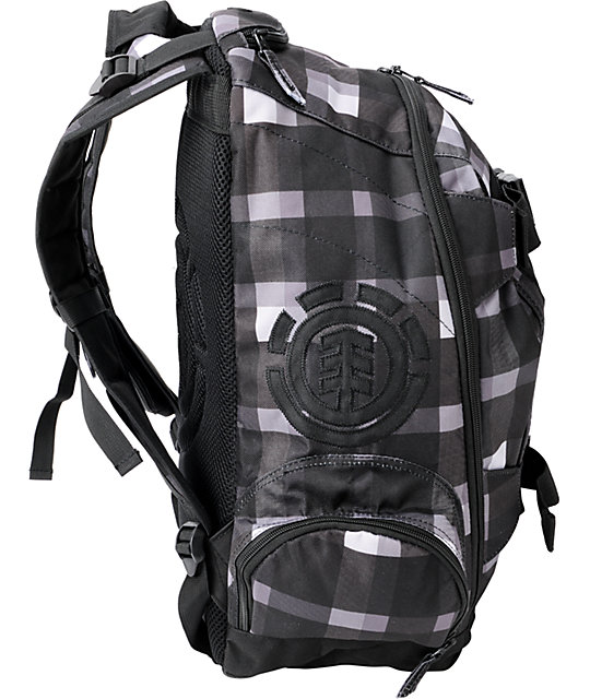 Element Woodranch Dark Grey Plaid Skate Backpack