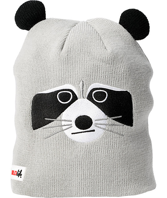 Elm Wildlife Raccoon Grey Beanie