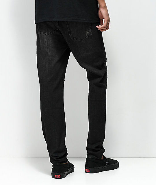 Elwood Moto Charcoal Destroyed Denim Jeans