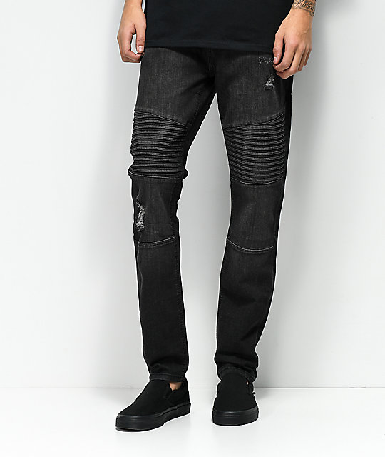 buy online b4ed3 b464b Elwood Moto Charcoal Destroyed Denim Jeans