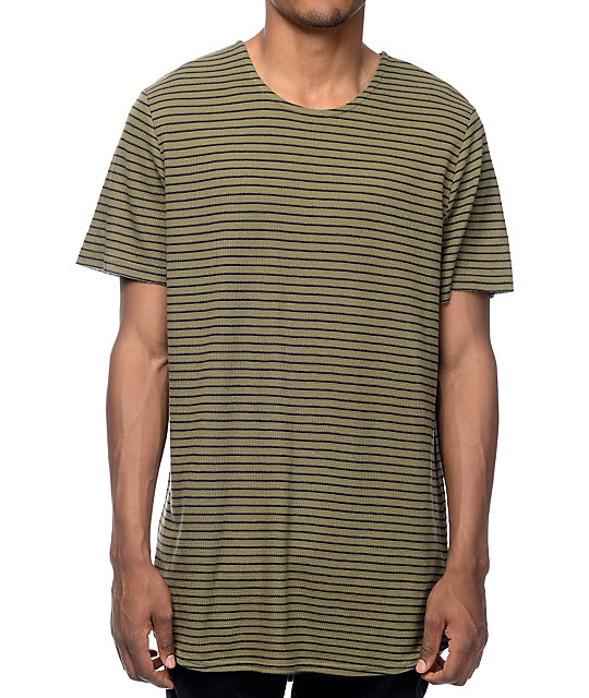 b0ac1b500 Elwood Olive & Black Stripe Thermal Tall T-Shirt | Zumiez
