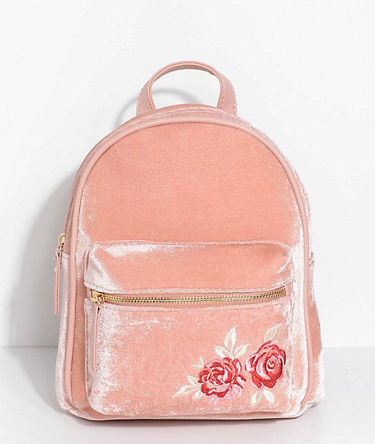 b4bde0c713b Embroidered Blush Pink Velvet Mini Backpack