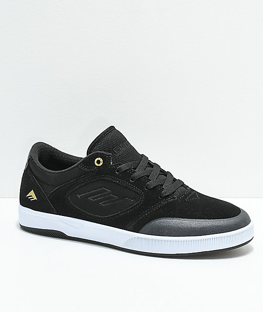 Emerica Dissent Black & White Suede Skate Shoes ...