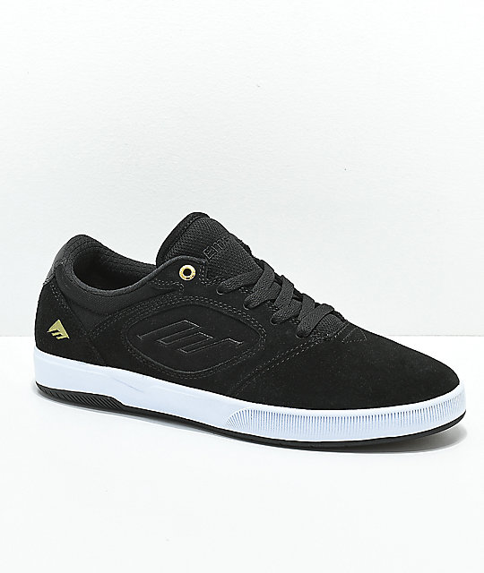 Emerica Dissent CT Black, Gold & White Skate Shoes