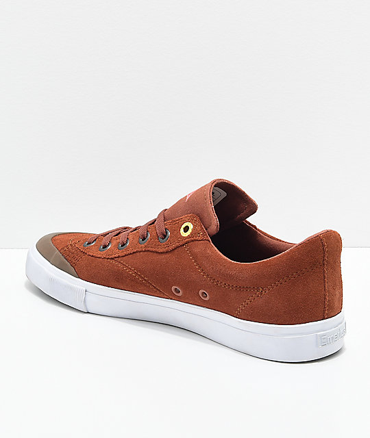 Emerica Indicator Low Rust & White Suede Skate Shoes