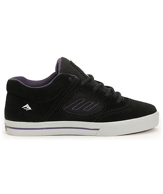 Emerica Kids Reynolds 3 Black & Purple Suede Skate Shoes