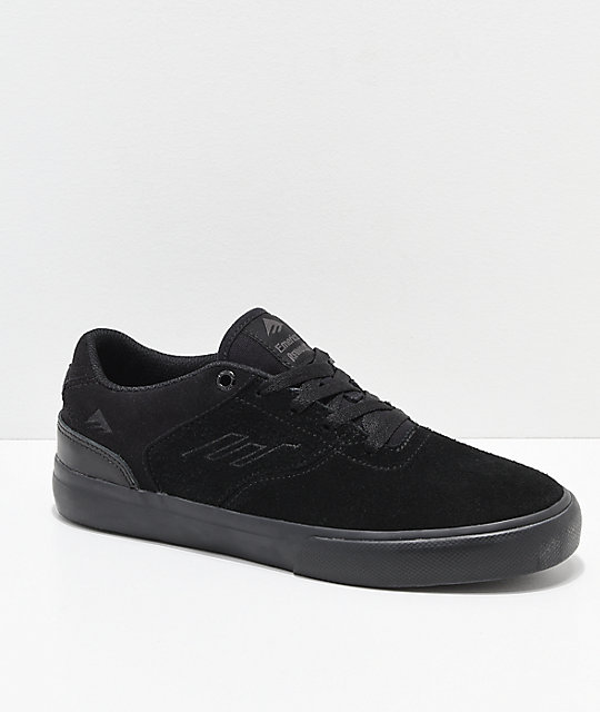 Emerica Kids Reynolds Vulc Low Black & Black Skate Shoes