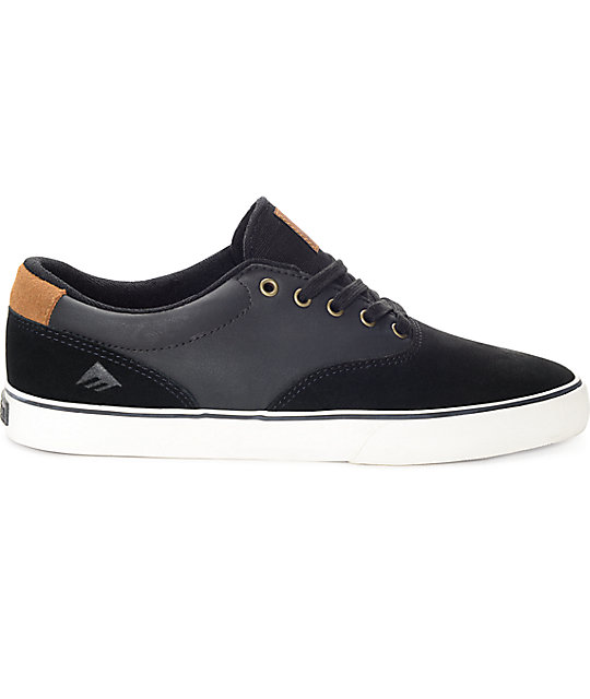 Emerica Provost Slim Vulc Black Leather & Suede Skate Shoes