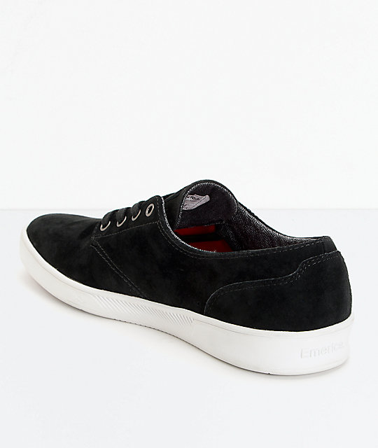 Emerica Romero Laced Black & White Suede Skate Shoes