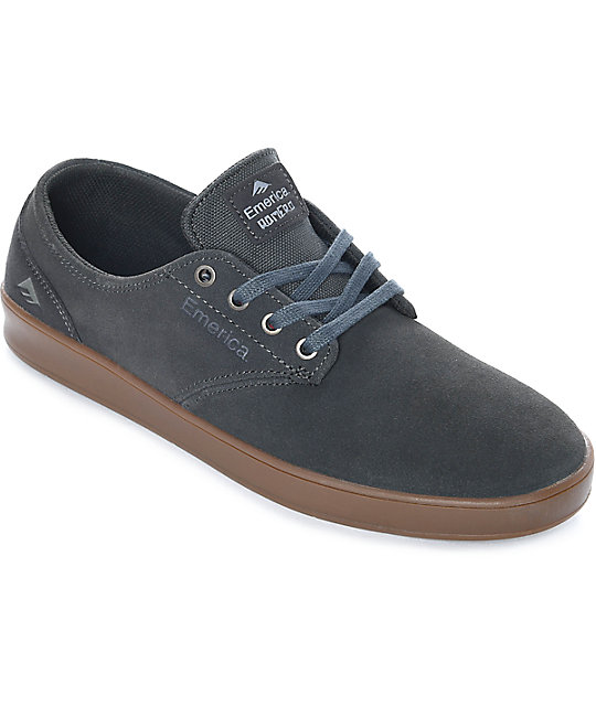 Emerica Romero Laced Dark Grey & Gum Suede Skate Shoes ...