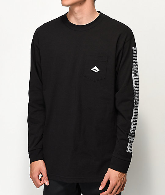 Emerica Team Black Long Sleeve Pocket T-Shirt