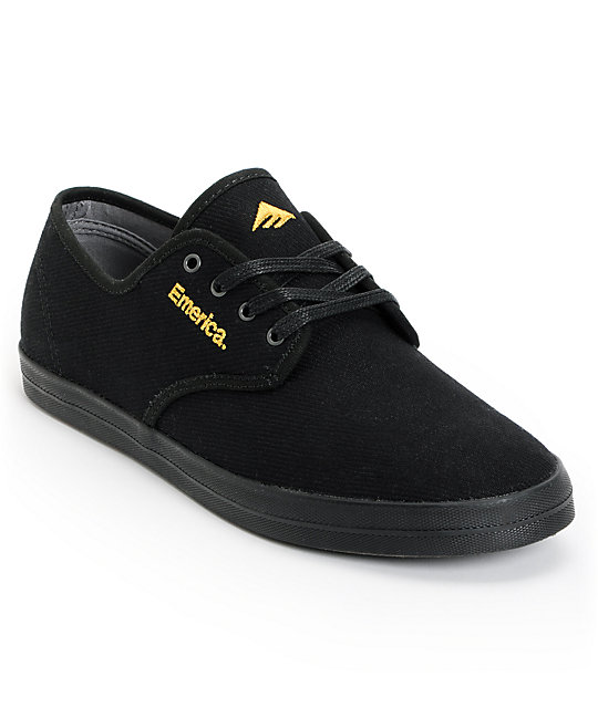 Emerica Wino Black & Gold Canvas Shoes ...