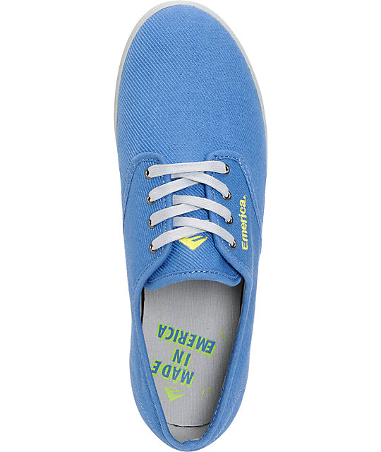 Emerica Wino Blue Canvas & Grey Twill Shoes