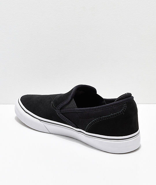 Emerica Wino G6 Black & White Suede Slip-On Skate Shoes