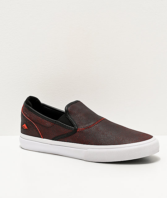 Emerica Wino G6 Black Crackle Slip-On Skate Shoes