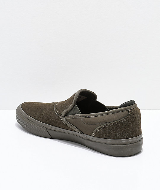 Emerica Wino G6 Olive Suede Slip-On Skate Shoes