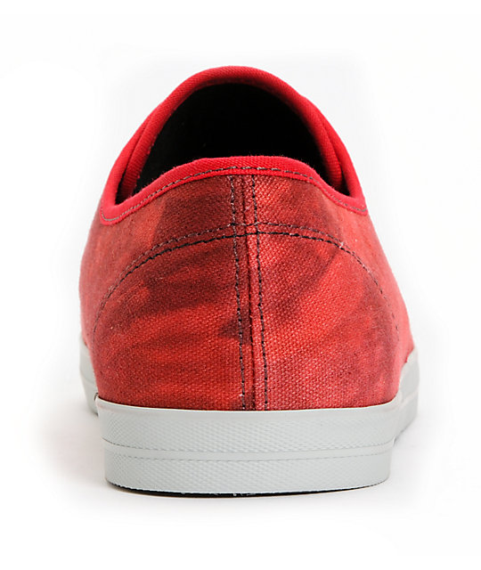 Emerica Wino Over-Dyed Red & Gray Canvas Skate Shoes