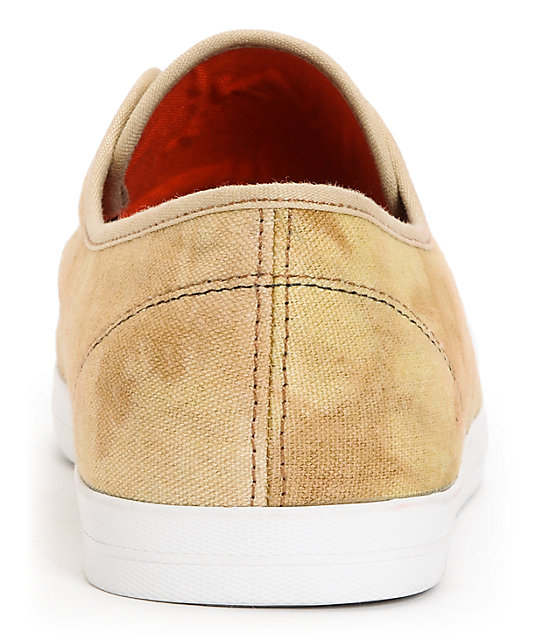 Emerica Wino Over-Dyed Sand & White Canvas Skate Shoes