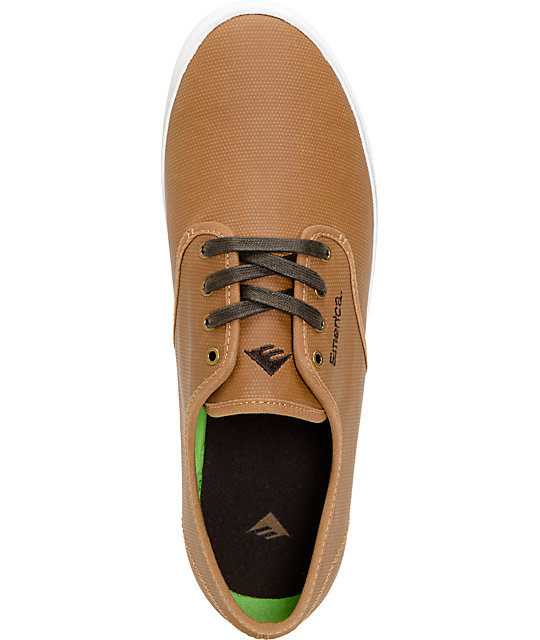 Emerica Wino Tan & Brown Coated Canvas Skate Shoes
