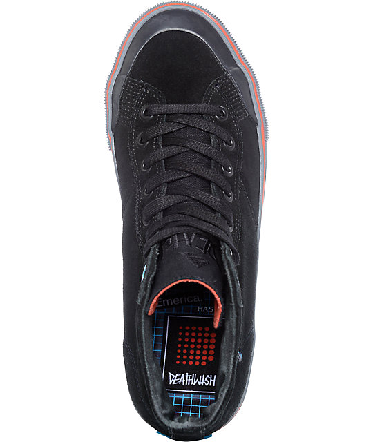 Emerica x Deathwish Indicator High Black & Grey Skate Shoes