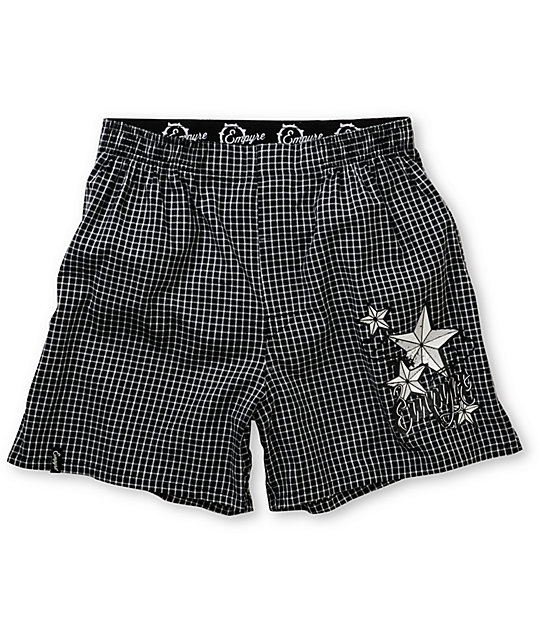 Empyre 9 Oh 9 Black & White Plaid Boxers