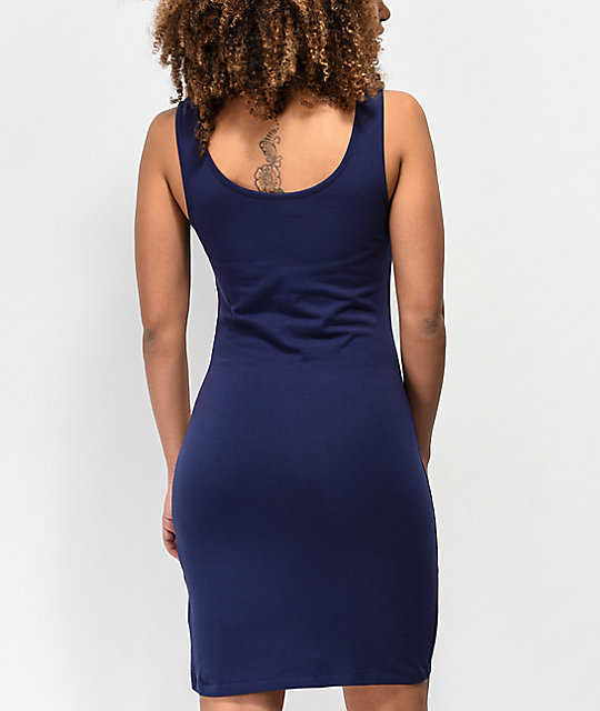 Empyre Aaliyah Side Striped Navy Dress