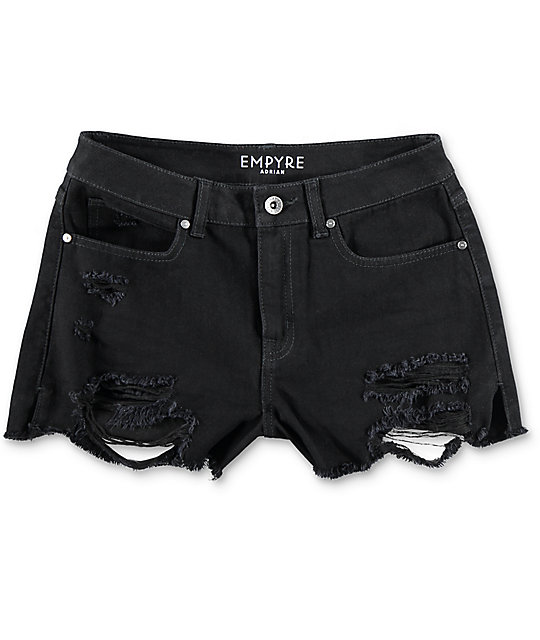 Empyre Adrian High Rise Destructed Black Shorts