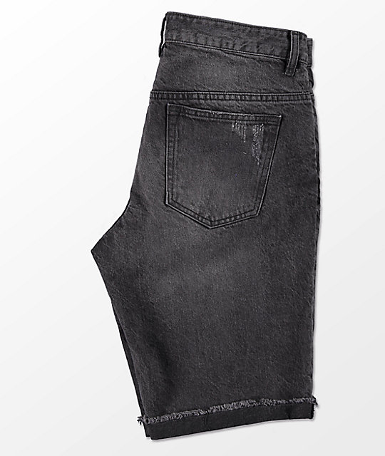 Empyre Albany Abyss Black Washed Destroyed Denim Shorts