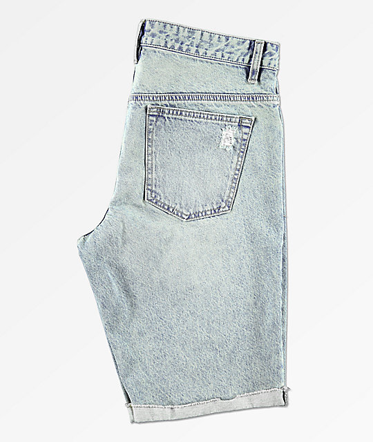 Empyre Albany Aged Destroyed Medium Wash Denim Shorts
