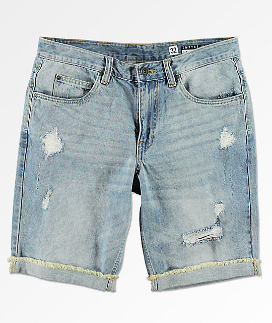 Empyre Albany Medium Wash Distressed Denim Shorts