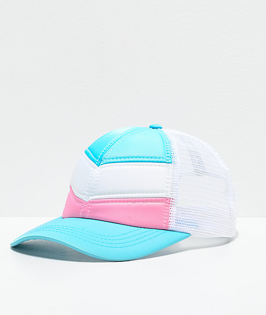Empyre Aleksia Quilt Chevron White, Blue & Pink Snapback Hat