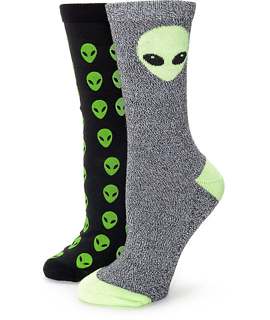 Empyre Alien 2 Pack Black Crew Socks