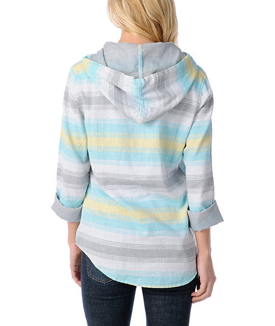 Empyre Alta Blue Striped Poncho