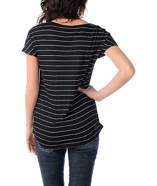 Empyre Anchor Stripe Novato Black Cap Sleeve T-Shirt
