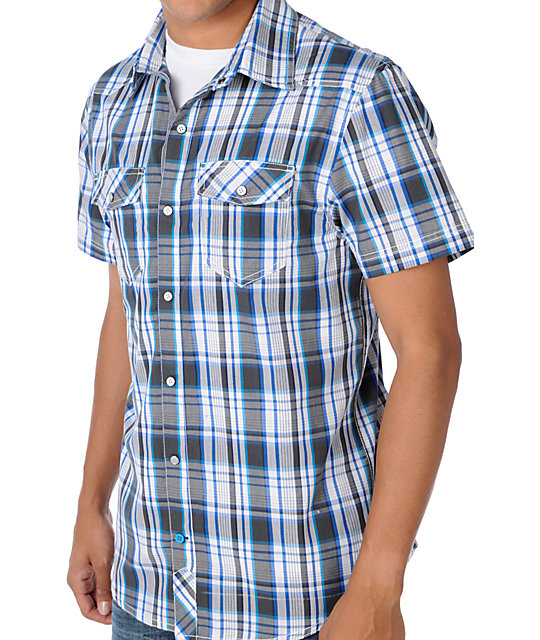 Empyre Apex Blue Plaid Woven Shirt
