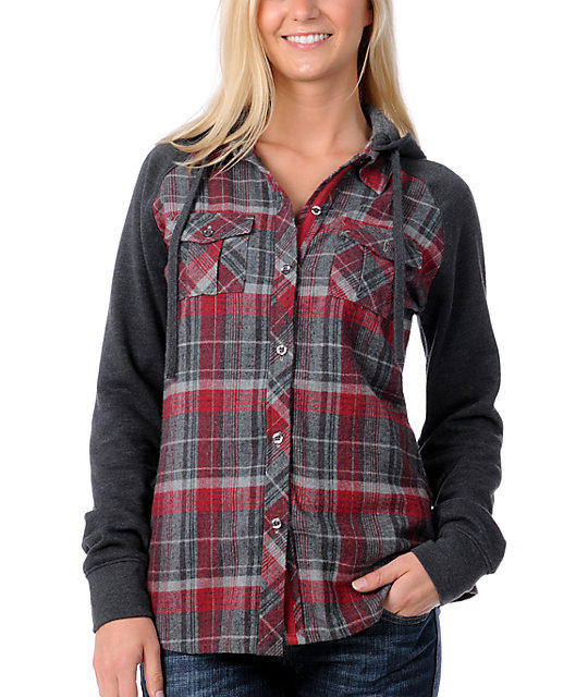 Empyre Artillery Red Fleece Hooded Flannel Shirt