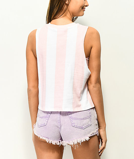 Empyre Benji Low Key Pink Stripe Muscle Tank Top