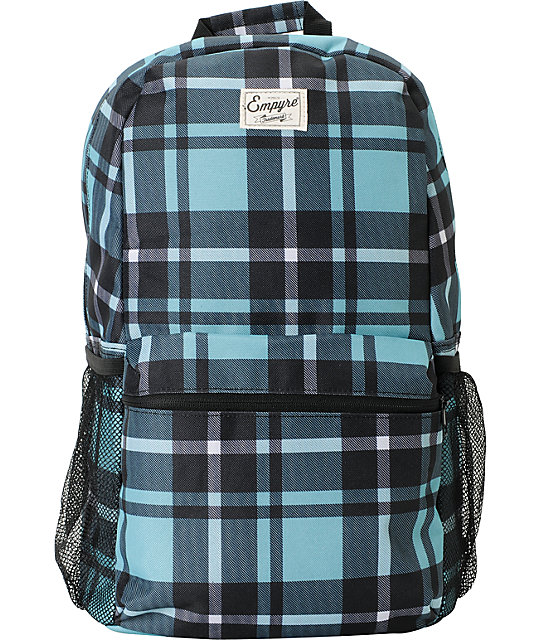 Empyre Black & Turquoise Plaid Roll Call Laptop Backpack