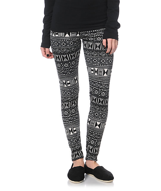 Empyre Black & White Tribal Print Leggings