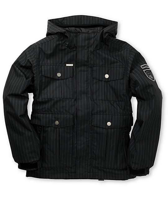 Empyre Boys Foothold Black Pinstripe Snowboard Jacket