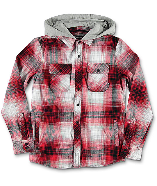 Empyre Boys Westcoast Hooded Red Flannel Shirt
