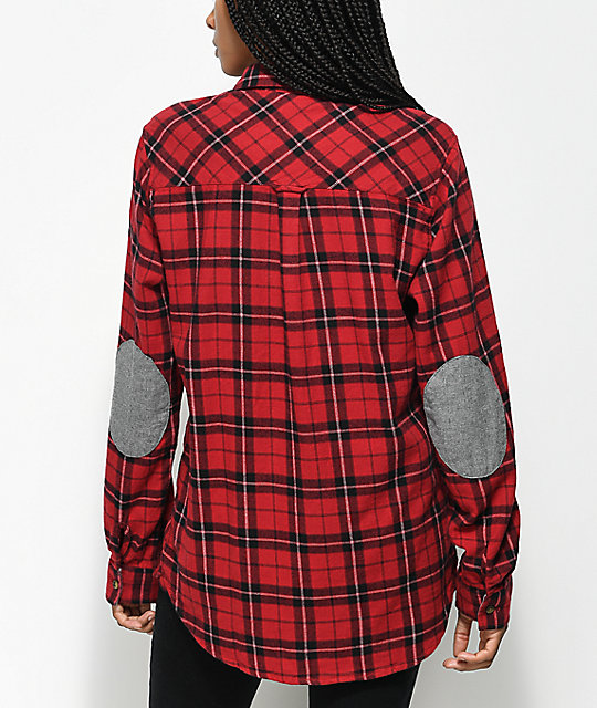 Empyre Brandon Red & Black Patched Button Up Shirt