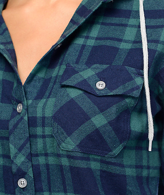 Empyre Bristol Green & Navy Plaid Button Up Hooded Flannel Shirt