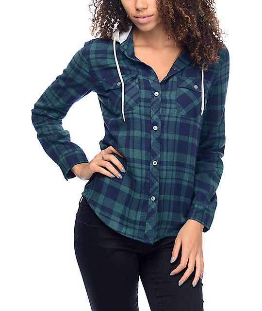 cc9edef3015 Empyre Bristol Green   Navy Plaid Button Up Hooded Flannel Shirt ...