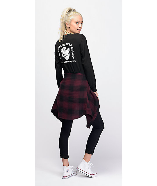 Empyre Bristol Purple & Black Plaid Hooded Flannel Shirt