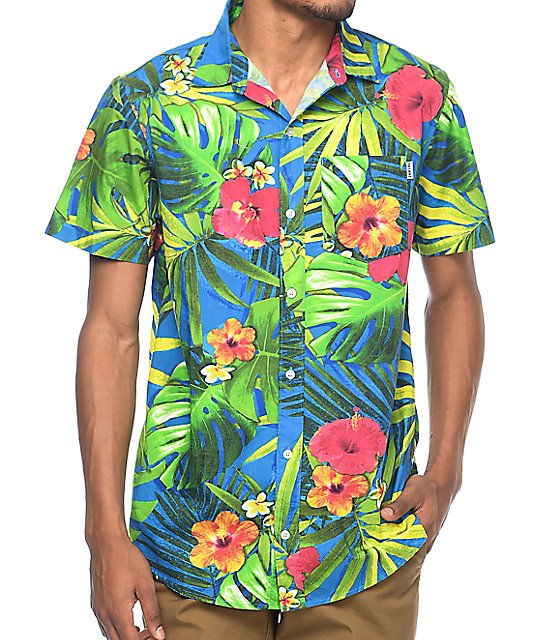 Empyre Broch Navy Tropical Floral Short Sleeve Button Up ...