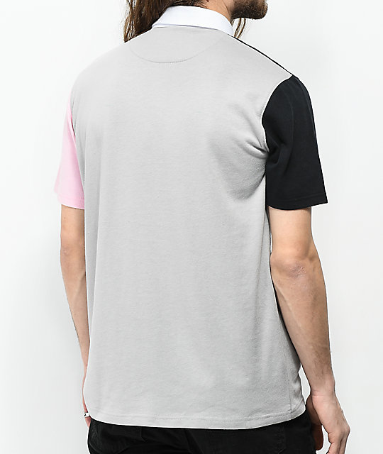 Empyre Broke Grey, Black & Pink Colorblock Polo