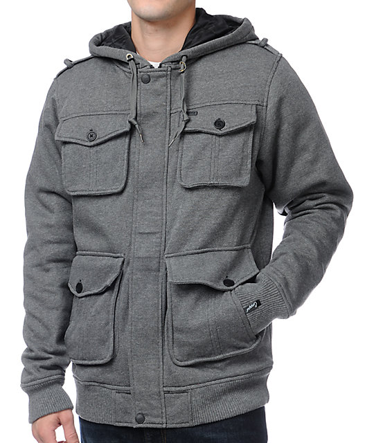 Empyre Bunker Herringbone Charcoal Fleece Jacket
