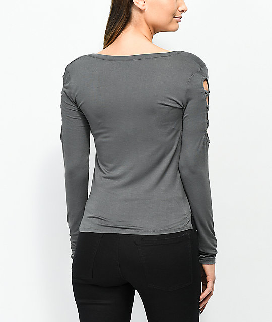 Empyre Cailin Dark Slate Laced-up Long Sleeve T-Shirt